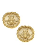 Gold Bee Intaglio Earrings
