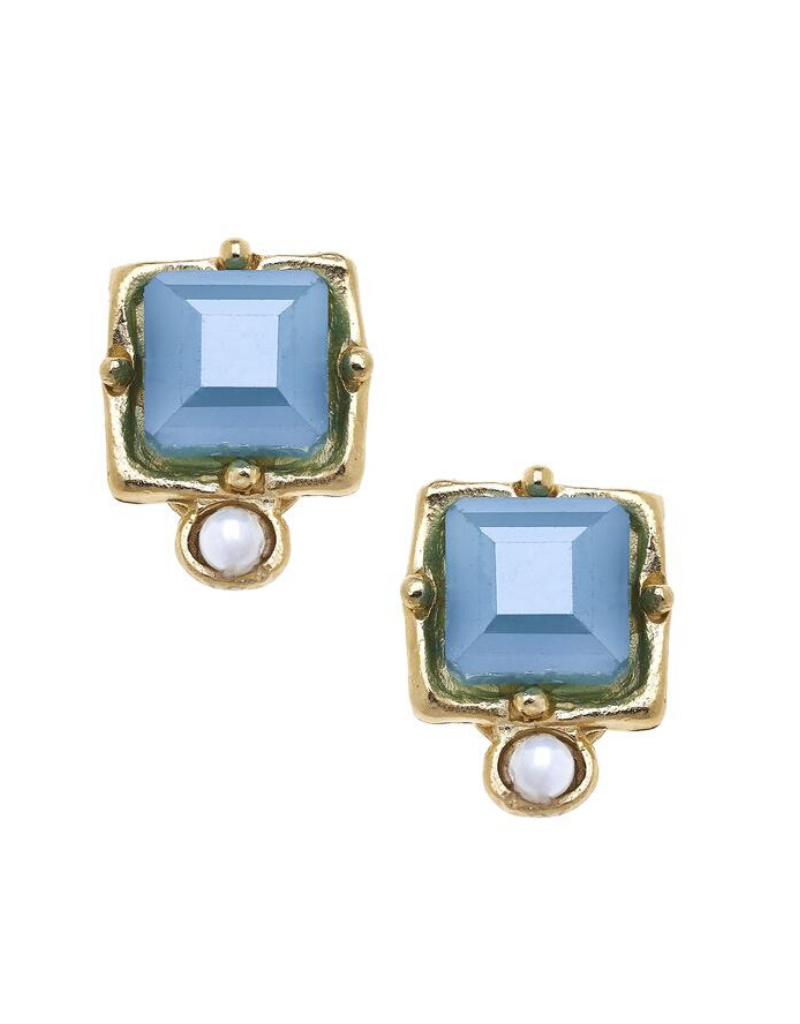 London Studs in Blue Crystal