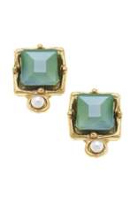 London Studs in Green Crystal