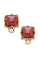 London Studs Red Crystal