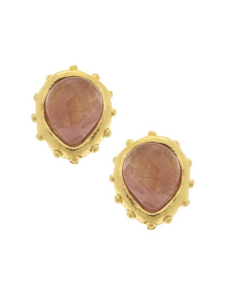 Marie Earrings in Coral Quartz