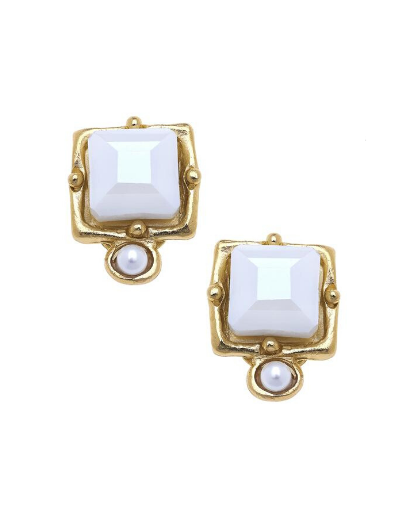 London Studs in White Crystal