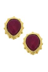 Marie Earrings in Ruby Jade