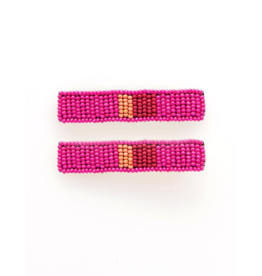 Beaded Hair Clip in Hot Pink