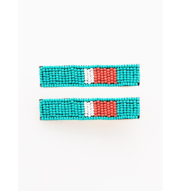 Beaded Hair Clip in Turquoise