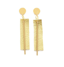Leather and Brass Rectangle Earrings in Citron