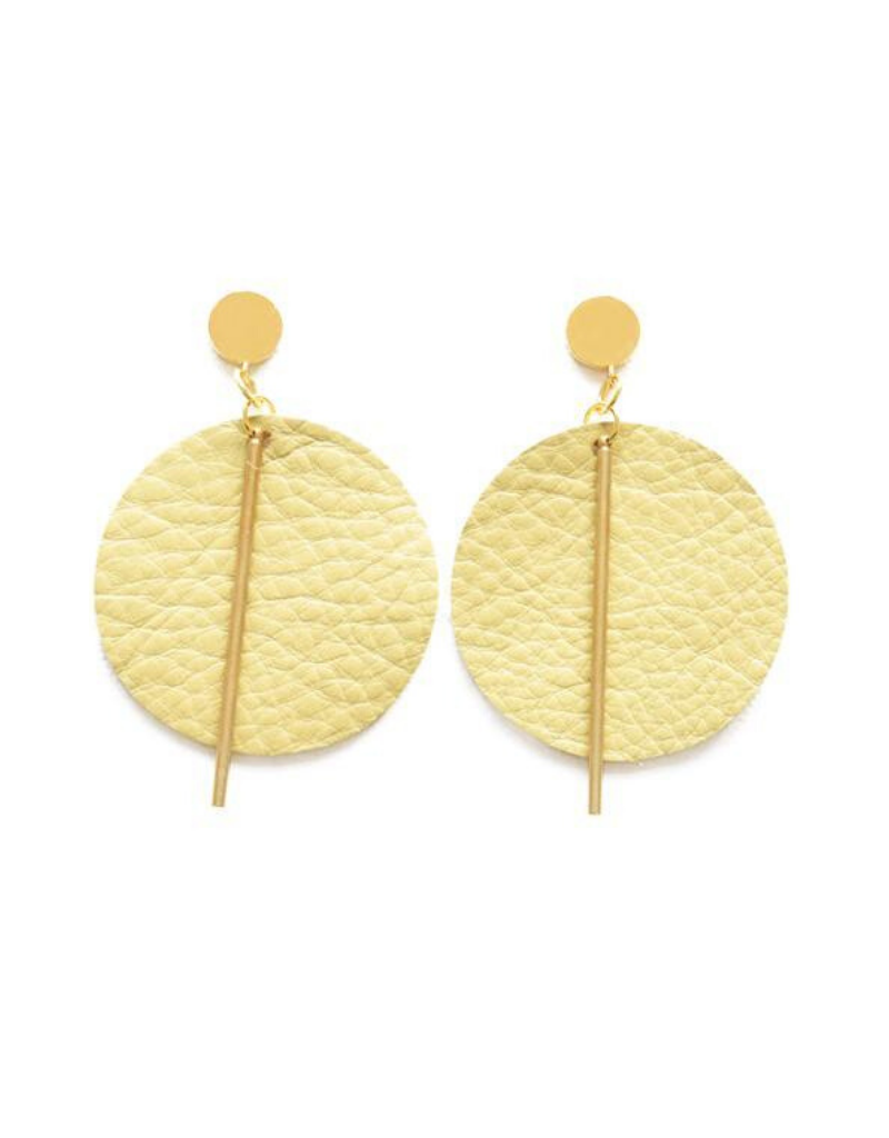 Leather and Brass Circle Earrings in Citron