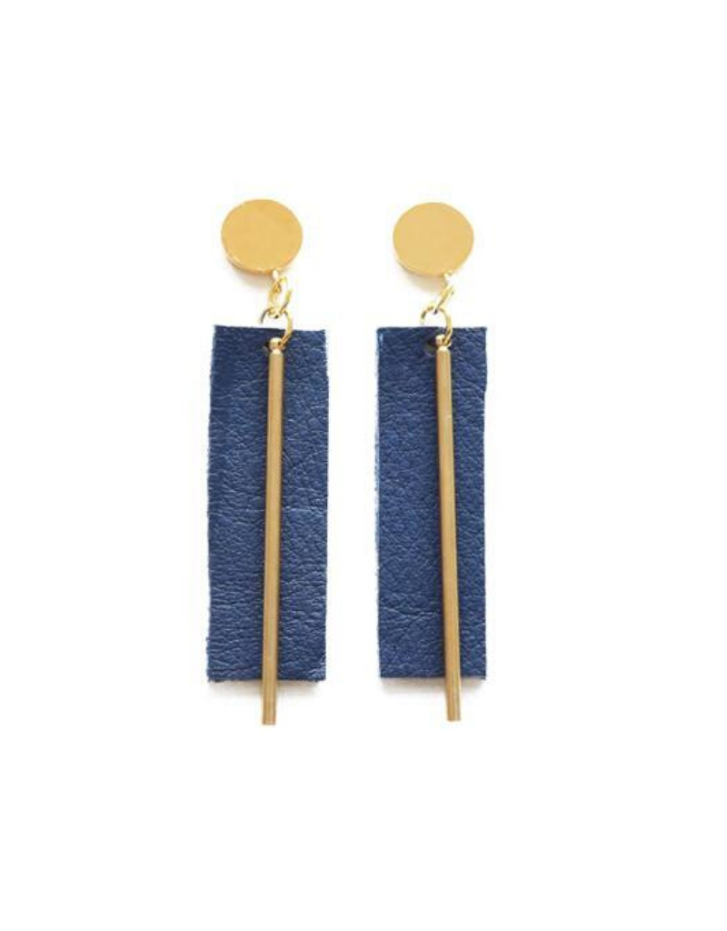 Leather and Brass Rectangle Earrings in Indigo