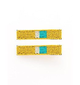 Beaded Hair Clip in Yellow Turquoise