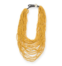 Seed Bead Multi Layer Necklace in Mustard