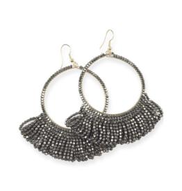 Fringe Hoop Seed Bead Earrings in Gunmetal