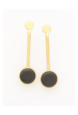 Ceramic Pedalum Earring in Black