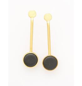 Ceramic Pedalum Earring in Black