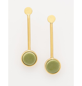 Ceramic Pedalum Earring in Olive