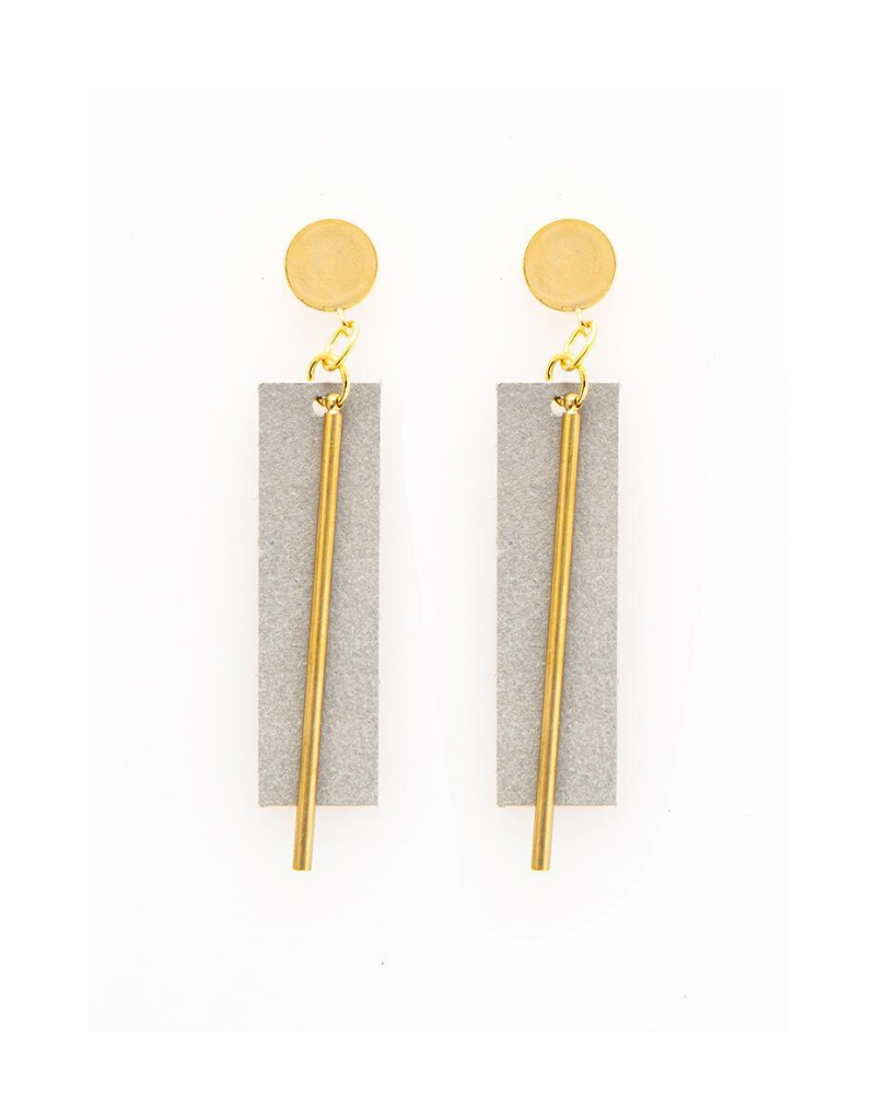 Leather and Brass Rectangle Earrings in Grey