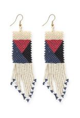 Geo Seed Bead Earrings in Ivory