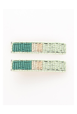 Beaded Hair Clip in Mint Teal