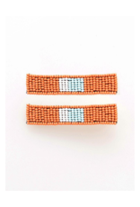 Beaded Hair Clip in Coral