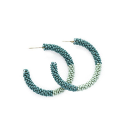 Seed Bead Hoop Earrings in Teal Mink