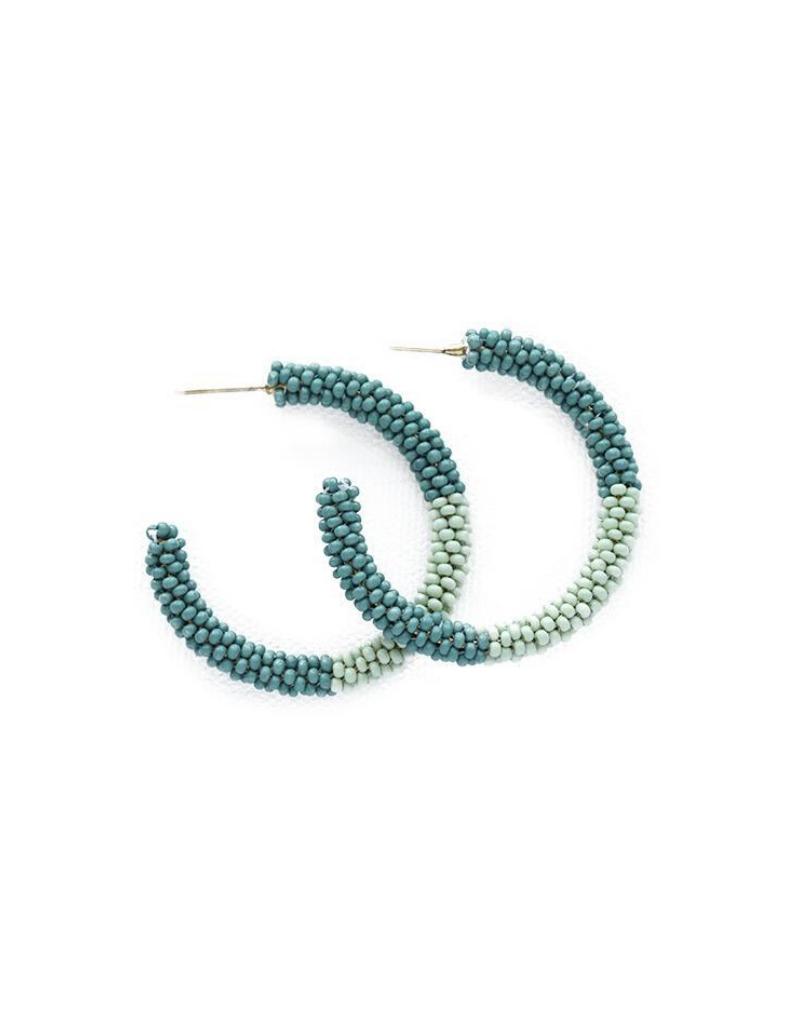 Seed Bead Hoop Earrings in Teal Mink