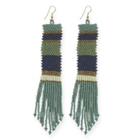 Long Stripe Seed Bead Earrings