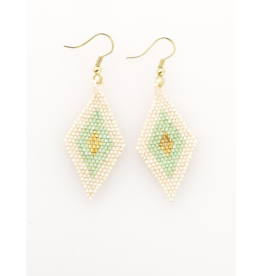 Seed Bead Diamond Earrings in Ivory