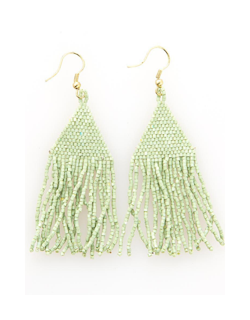 Seed Bead Petite Fringe Earrings in Mint