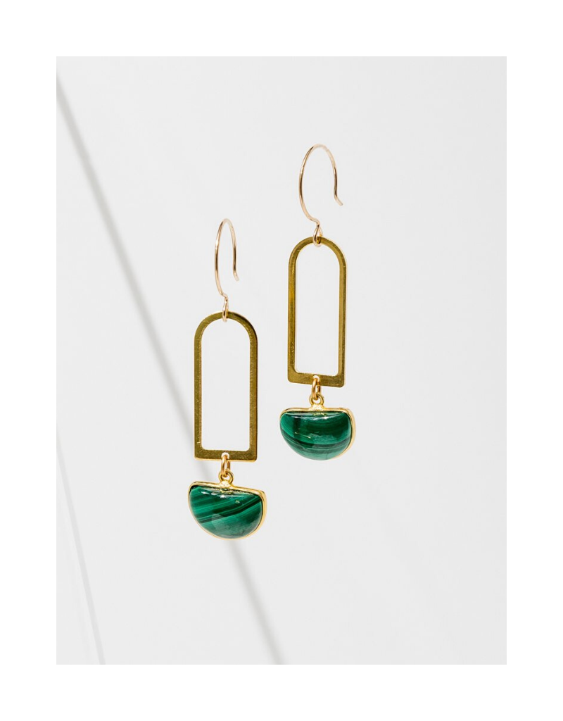 Casablana Earrings in Malachite