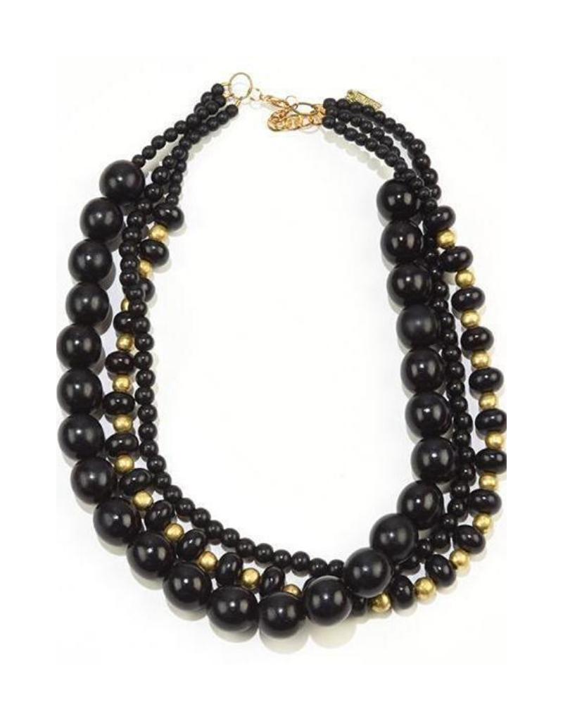 Ink + Alloy Short Three Strand Necklace WDNK1216B Black