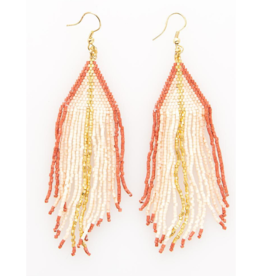 Blush Ombre Gold Luxe Stripe Fringe Earring