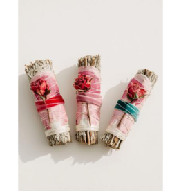 Blue Sage + Roses Smudge Stick Summer Color Variations