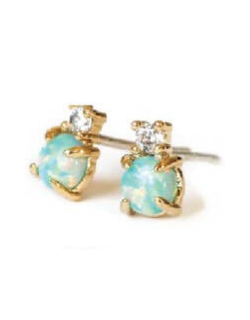 Opal CZ Stud Earrings