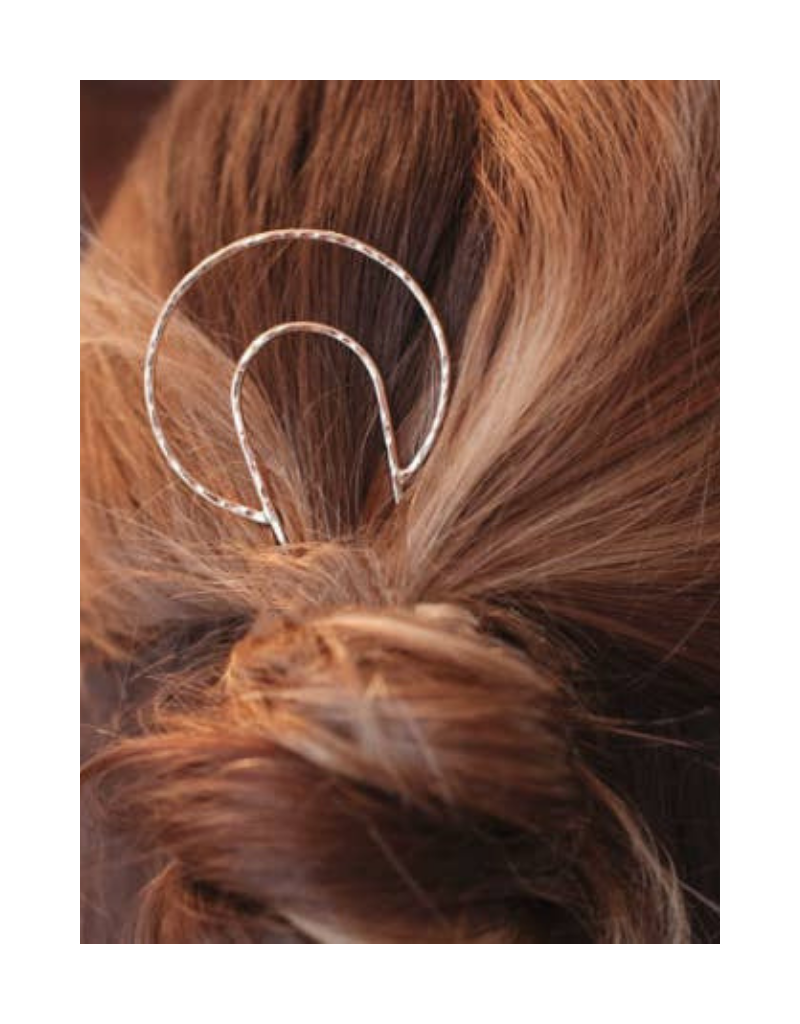 Crescent Moon Hair Pin in Silver