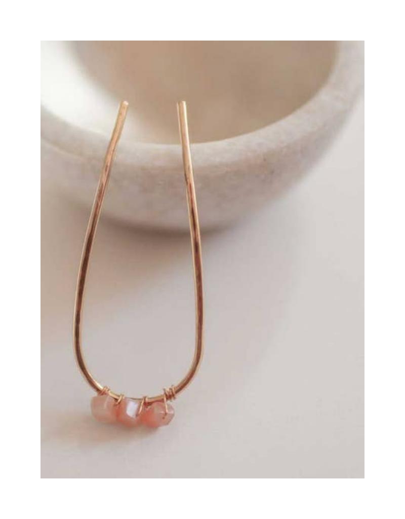 Jewelled Hair Pin in Pink Tourmaline