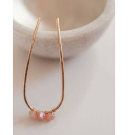 Jewelled Hair Pin in Peach Moonstone