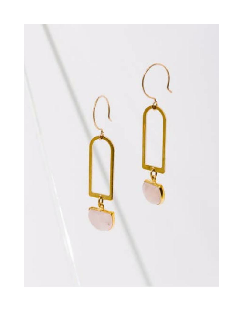 Casablana Earrings in Rose Quartz