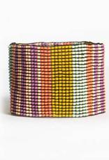 Lilac, Coral and Citron Stripe Stretch Bracelet