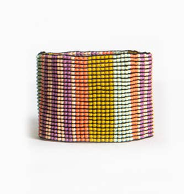 Lilac, Coral and Citron Stripe Stretch Bracelet