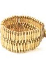 Taupe Thread Double Brass Bar Bracelet