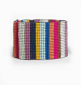 Multi Color Stripe Wide Stretch Bracelet