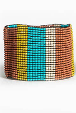 Ivory Citron Rust with Turquoise Stripe Stretch Seed Bead Bracelet