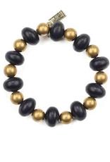Black Oval and Brass Bead Bracelet