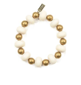 White Oval and Brass Bead Bracelet