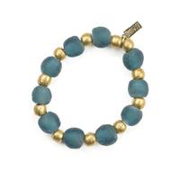 Teal Recycled Glass and Brass Bead Stretch  Bracelet