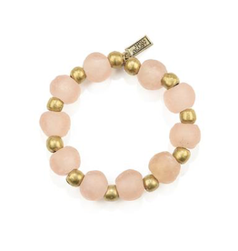 Pink Recycled Glass and Brass Bead Stretch Bracelet