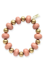 Coral Oval with Brass Stretch Bracelet