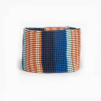 Lapis and Coral Stripe Stretch Bracelet
