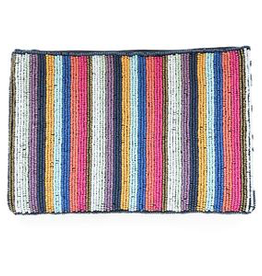 Multi Mini Stripe Seed Bead Clutch