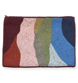 Multi Color Organic Pattern Beaded Clutch