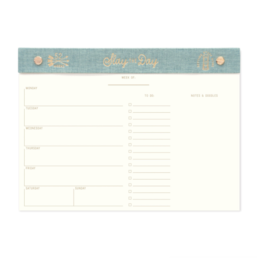 "Designworks""Slay The Day"" Linen Undated Weekly Planner Desk Pad"